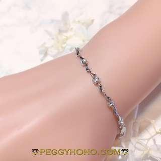 【Peggyhoho】全新18K白金14份天然真鑽石軟鍊厄 手鍊| 軟鍊鐲 | 送禮首選 韓風百搭