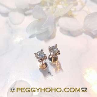 【Peggyhoho】全新18K玫瑰金 ((40份)) 閃爆鑽石耳環|經典系列|卡地亞映底迫鑲