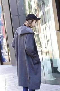 🚚 刷毛保暖連帽排釦大衣