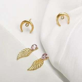 ✨FREE SHIPPING Moon and Wings Earring Set