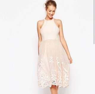ASOS embroidered pink floral evening mesh tulle causal wedding gown dress prewedding 粉紅 婚宴 晚裝 姊妹裙 伴娘裙 飲宴 連身裙
