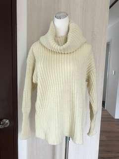 二手 歐美百搭米白高領針織毛衣