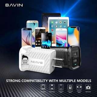 Bavin Travel Charger Dual USB Port PC558 W Lightning Cable