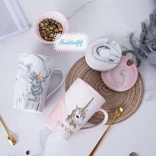 🚚 100)Marble Ceramic Mugs(pair)