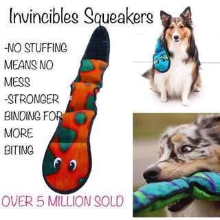 BLUE! Brand New Outward Hound Invincibles Plush Snake Stuffing-free Durable Dog Toy 3 squeakers