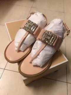 全新Michael Kors奢華大鑽真皮涼鞋(附盒)