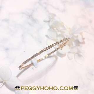 【Peggyhoho】全新18K玫瑰金1卡41份真鑽石手厄 手鈪 手鐲|超值靚石|簡約見石