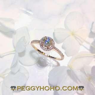 【Peggyhoho】全新18K玫瑰金((主石42份))配小鑽共52份真鑽石戒指| 玫瑰金系列 |奢華品味 HK12