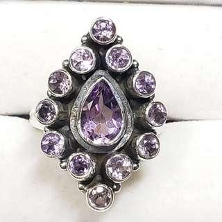 Stamped 925 Sterling Silver Amethyst Ring, Size: 7.25