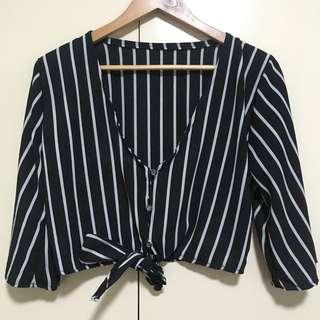 Stripes crop tie knot top
