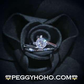 【Peggyhoho】全新18K白金(單粒46份)4爪鑽石戒指|歐洲 EGL證書 F色 VS2| HK10.5