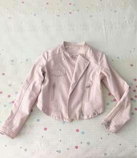 Faux leather pink jacket