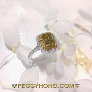 【Peggyhoho】 全新18K金單粒1卡28份彩綠鑽配綠色小鑽共1卡68份鑽石戒指| 罕有綠鑽 | HK13.5