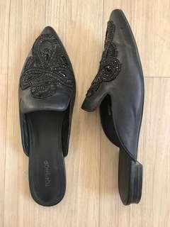 Topshop Black Mules (Size 8)