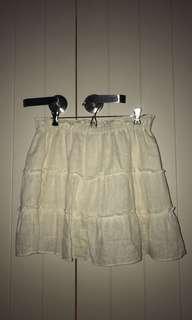 linen blend tiered skirt