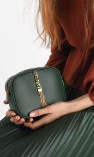 brand new in pack charles and keith tassel clutch sling bag in green