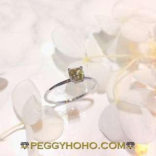 【Peggyhoho】全新18K白金42份真鑽石戒指|罕有天然綠色方鑽 | HK12號