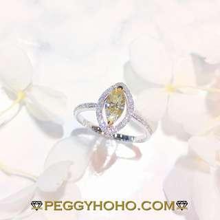 【Peggyhoho】全新18K白金單粒45份彩黃馬眼鑽配小鑽 共67真鑽石戒指|Fancy Yellow|HK13號