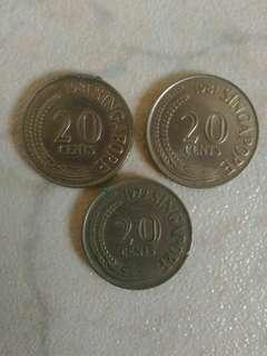 Old Singapore  20 cents Coins