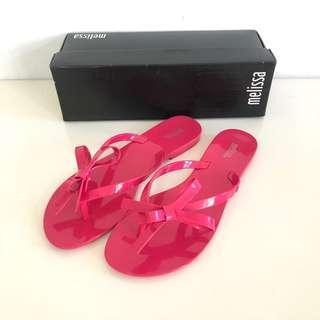 🚚 Melissa 香香鞋 巴西尺寸36,38(蝴蝶結繫帶夾腳平底拖鞋-桃紅色)