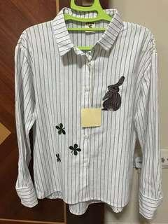 Rabbit and four leaves clover embroidery long sleeves shirt