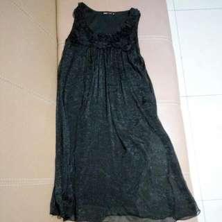 black floral dress gaun pesta