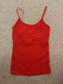 Red Lace Singlet