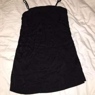black 'silk' dress, supposed to be L but shrunk in dryer so is now M or S with a belt. will iron before postage x