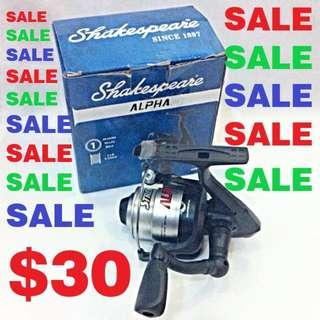 NEW - Shakespeare Alpha Spinning Reel- Right Or Left Hand - 1BB - Size 30 (Loaded With 6lb line)
