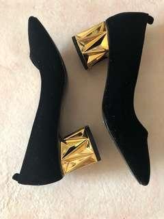 Asos black shoes with gold block heels UK5