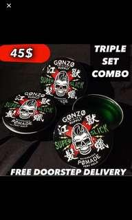 Triple Set Pomades x3[Gonzo Super Slick Pomade Stronghold Waterbased]