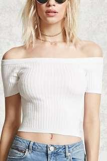 <AVAIL> PINK Ribbed Off Shoulder Top (NOT CROPPED)
