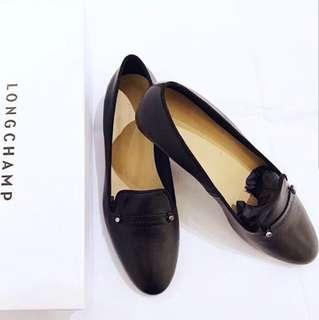 LONGCHAMP 全新法國經典牛皮娃娃鞋 包頭鞋 (保證真品)