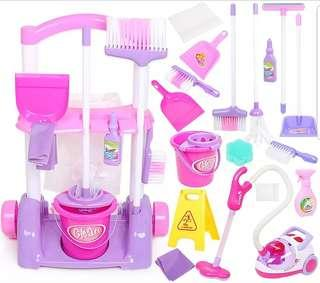 17pcs Little Helper Cleaner Cleaning Educational Toy Set with Trolley Vacuum Mop and Broom
