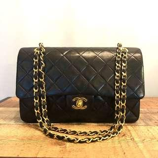 Authentic Chanel 10 Inch Classic Flap with 24k Gold Hardware