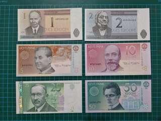 Estonia Pre-Euro set 1,2,5,10,25,50 Krooni UNC