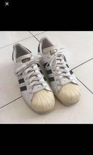 🚚 二手-Adidas super star白色黑色黑線金標珍珠皮奶油底純白色運動鞋休閒鞋球鞋👟23.5