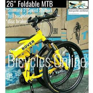 """26"""" Foldable Mountain Bike ☆ Full Suspension, 21Speeds *Shimano Shifters ☆ Disc brakes ☆ Brand New Bicycle *ROVER"""