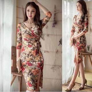 Korean floral dress with slit