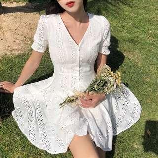 READY STOCK eyelet crochet dress