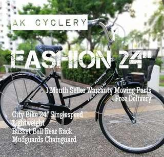 "🚚 City Bike 24"" FASHION Singlespeed Lightweight Basket Bell Rear Rack Mudguards Chainguard"