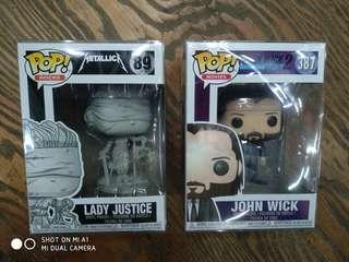 Funko Pop Lady Justice / Metallica (Pop Rocks) and John Wick (Movies) LOT