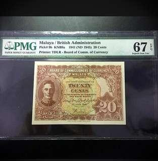1941 BOCOC Malaya King George VI 20 Cents Banknote~PMG 67EPQ Superd Gem UNC