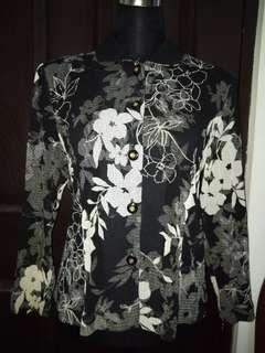 Ladies Floral Polo Long Sleeves