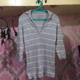 Aeropostale Grey Striped Collared Long Sleeves (M)