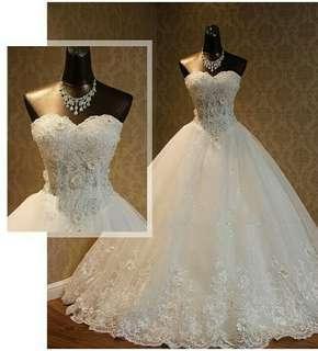 PO Wedding GownReal Photo 2018 High Quality Elegant Luxury Lace Wedding Dress 2018 Vestido Vintage Bandage Size S,M,L Ball Gowns