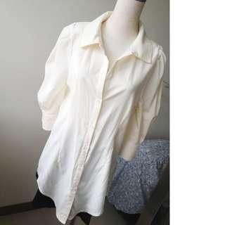 正韓製 簡約長版襯衫 米白色 #十月女裝半價