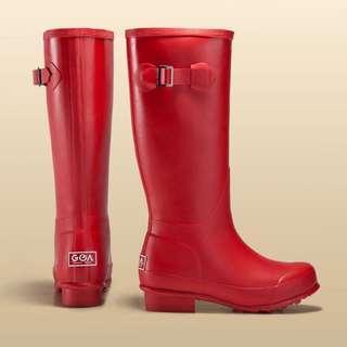 專櫃 GOA 雨季女款長筒雨靴雨鞋 霧面紅色