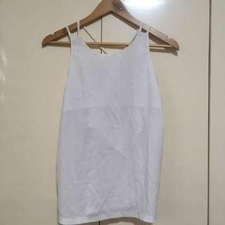 White sexy sleeveless with open back details