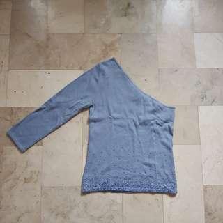 Blue one-shoulder top